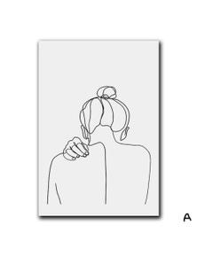 Abstract Feminine Beauty Minimalist Wall Art Unframed Canvas Print- 20x30cm No Frame- A