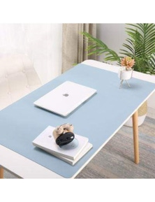 Faux Leather Desk Mat Surface Protector Home Office Equipment- Blue- 90x45cm