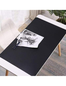 Faux Leather Desk Mat Surface Protector Home Office Equipment- Black- 70x35cm