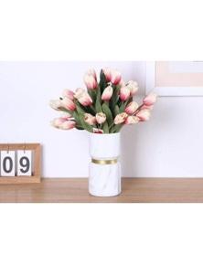 Opulent Vase WhiteGold Marble Design Elegant Home Decor-S- Gold Middle