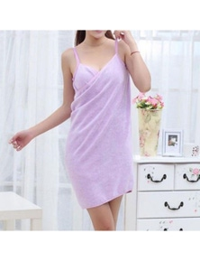 Pink Or Puple Bath Towel Dress Home Luxury Self-Care Relaxation- Purple