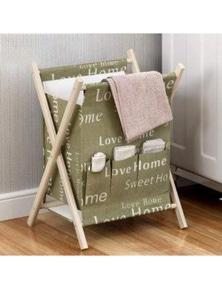 Mini Wooden Laundry Basket Hamper Bathroom Storage- Green