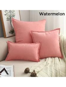 Suede Throw Pillows Cushion Covers Comfortable Home Decor- Watermelon- 30x50 cm