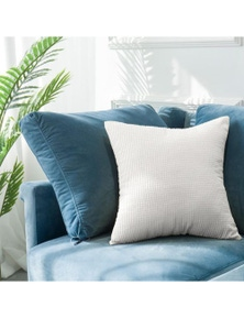 Textured Weave Pattern Modern Cushion Cover- White- 18x18 In / 45x45 cm