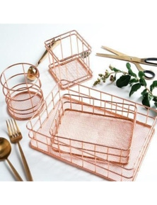Rose Gold Iron Organizers- Square Cup