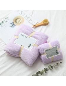 Towels 2Pcs Bath Towels Soft Coral Velvet Towel Set- Purple
