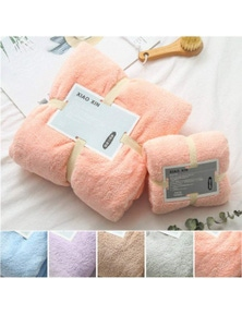 Towels 2Pcs Bath Towels Soft Coral Velvet Towel Set- Pink