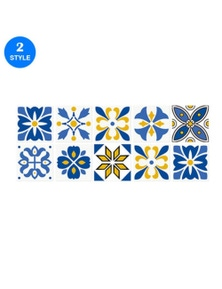 Tile Stickers Moroccan-Style Wall Stickers 10pcs Self-Adhesive Home Decor 15X15cm- Style 2