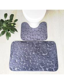 Pebbles Bath Mat Set Bathroom Square Shaped And U-Shaped Non-Slip Floor Mats- Grey