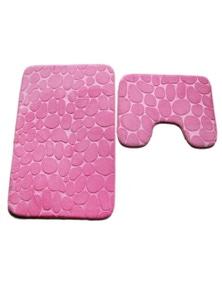 Pebbles Bath Mat Set Bathroom Square Shaped And U-Shaped Non-Slip Floor Mats- Pink