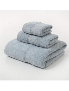 Towels 3Pcs Soft Cotton Towel Set Lightweight Bath Towels- Grey