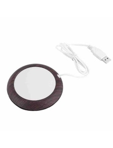 Wooden Insulation Coffee Cup Heater Coaster Mat With Usb Cable- Dark Wood