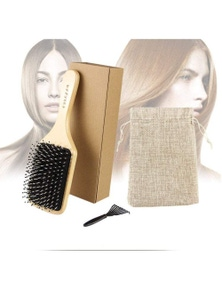 Hair Brushes Combs Boar Bristle Hairbrush With Combing Pins- Red