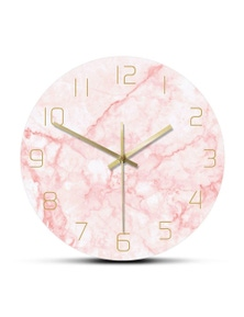 Pretty Pink Marble Print Round Wall Clock Nordic Home Decor- Pink