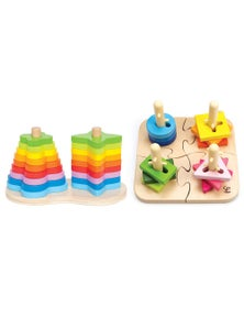 Hape Double Rainbow Stacker 16pc Hape Creative Peg Puzzle Combo Set 19pc