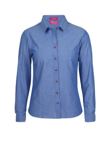 JB's Wear Ladies Classic Long Sleeve Fine Chambray Shirt