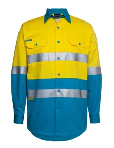 JB's Wear Hi Vis Long Sleeve (D+N) 150G Work Shirt