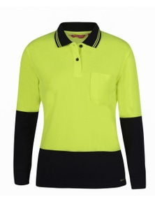 JB's Wear Ladies Hi Vis Long Sleeve Comfort Polo