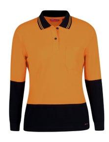 JB's Wear Ladies Hi Vis Long Sleeve Comfort Polo
