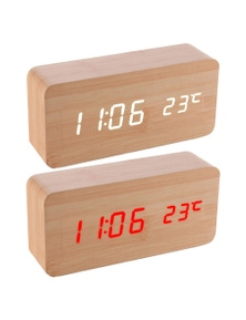 LED Display Digital Alarm ClockBamboo-Assorted Colour 2PKWooden