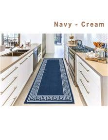Ramesses Greek Key Anti-Slip Hallway and Modern Kitchen Runner Rug