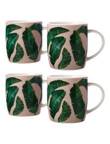 Maxwell & Williams 380Ml Haven Banana Leaf Pink And Green Mug 2X 2Pc