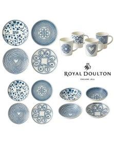 Royal Doulton Ed Ellen Degeneres 16-Piece Blue Love Dinner Bowl Mug Plate Set Of 16