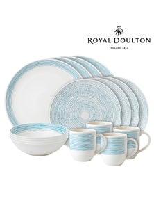 Royal Doulton Ed Ellen Degeneres 16-Piece Polar Blue Dots Dinner   Set Of 16