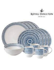 Royal Doulton Ed Ellen Degeneres 16-Piece Chevron Dark Blue Dinner Set Of 16