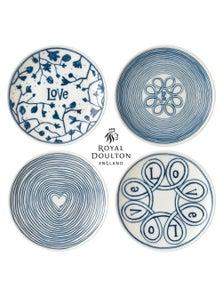 Royal Doulton 4-Piece Blue Love 16cm Plate Set Of 4