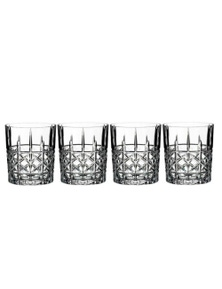 Marquis By Waterford Brady Crystalline Old Fashion Whiskey Tumbler Set Of 4