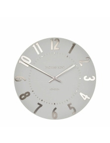 Thomas Kent Mulberry Arabic Wall Clock 30cm Silver Cloud Grey