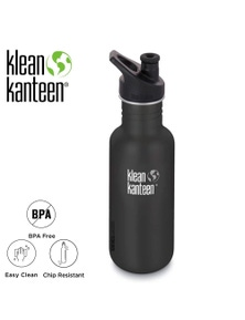 Klean Kanteen Original 18Oz 532Ml Shale Black with Sports Cap Water Bottle
