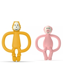 Matchstick Monkey Animal Anti Microbial Teether - Lion/Pig 2x