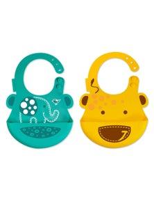 Marcus & Marcus Baby Bib Combo Set Green Elephant & Yellow Giraffe 2Pk