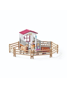 Schleich-Horse Stall with Horses and Groom