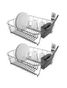 Avanti Slimline Large Dish Rack - Dark Grey 2Pk
