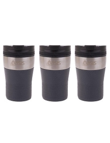 Oasis Cafe Stainless Steel 280Ml Insulated Travel Cup - Charcoal Grey 3Pk
