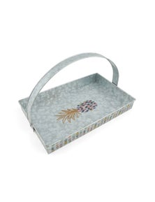 Thirststone Galvanized 39Cm Pineapple Party Rectangle Tray