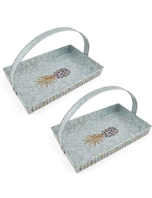 Thirststone Galvanized Pineapple Party Rectangle Tray 2Pk