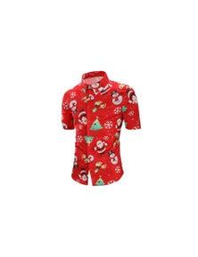 Men's Collared Short Sleeve Christmas Shirt