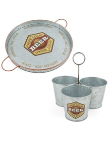 Thirstystone Galvanize Iron Beer 32.5Cm Serving Tray And Snack Buckets Combo 2Pk
