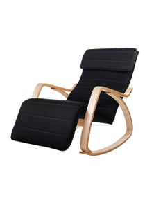 Artiss Bentwood Rocking Armchair Wooden Adjustable Lounge Fabric Recliner Black