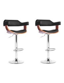 Artiss 2x Wooden Bar Stools SELINA Kitchen Swivel Chairs Leather Black