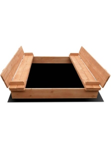 Keezi Sandpit Toy Box Kids Large Square Sand Pit Wooden Outdoor Play