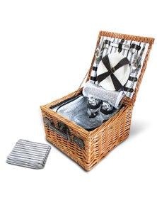 Vintage 2 Person Picnic Basket - Black