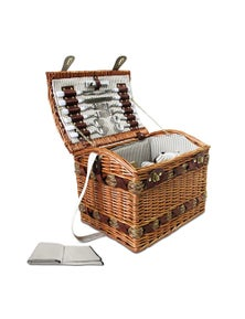 Alfresco 4 Person Wicker Picnic Basket with Deluxe Insulated Blanket