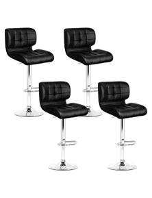 Artiss 4x Bar Stools PU Leather Chrome Kitchen Bar Stool Chairs Gas Lift Black