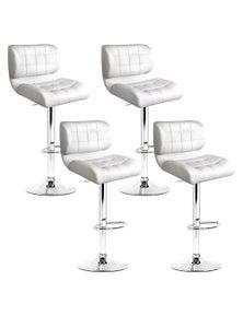 Artiss 4x Bar Stools PU Leather Chrome Kitchen Bar Stool Chairs Gas Lift White