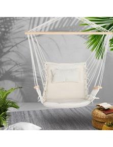Gardeon Hanging Rope Hammock Chair - Cream